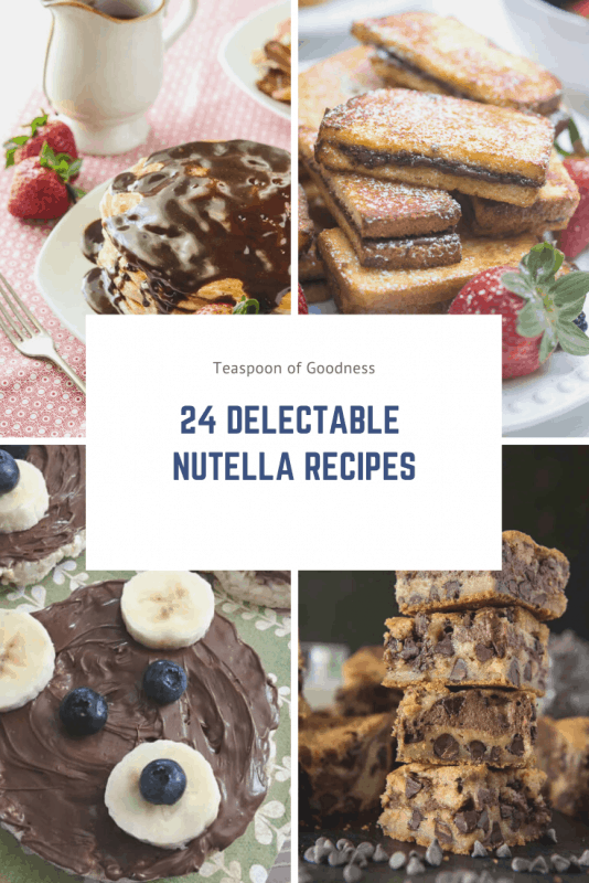 A collage photo with 24 Nutella recipes written on it and 4 photos of Nutella recipes.