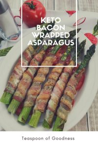 White Oval bowl with bacon Wrapped asparagus in the bowl