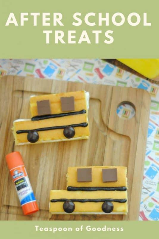 Back to school treat recipe shaped like school buses using little debbie snack cakes.