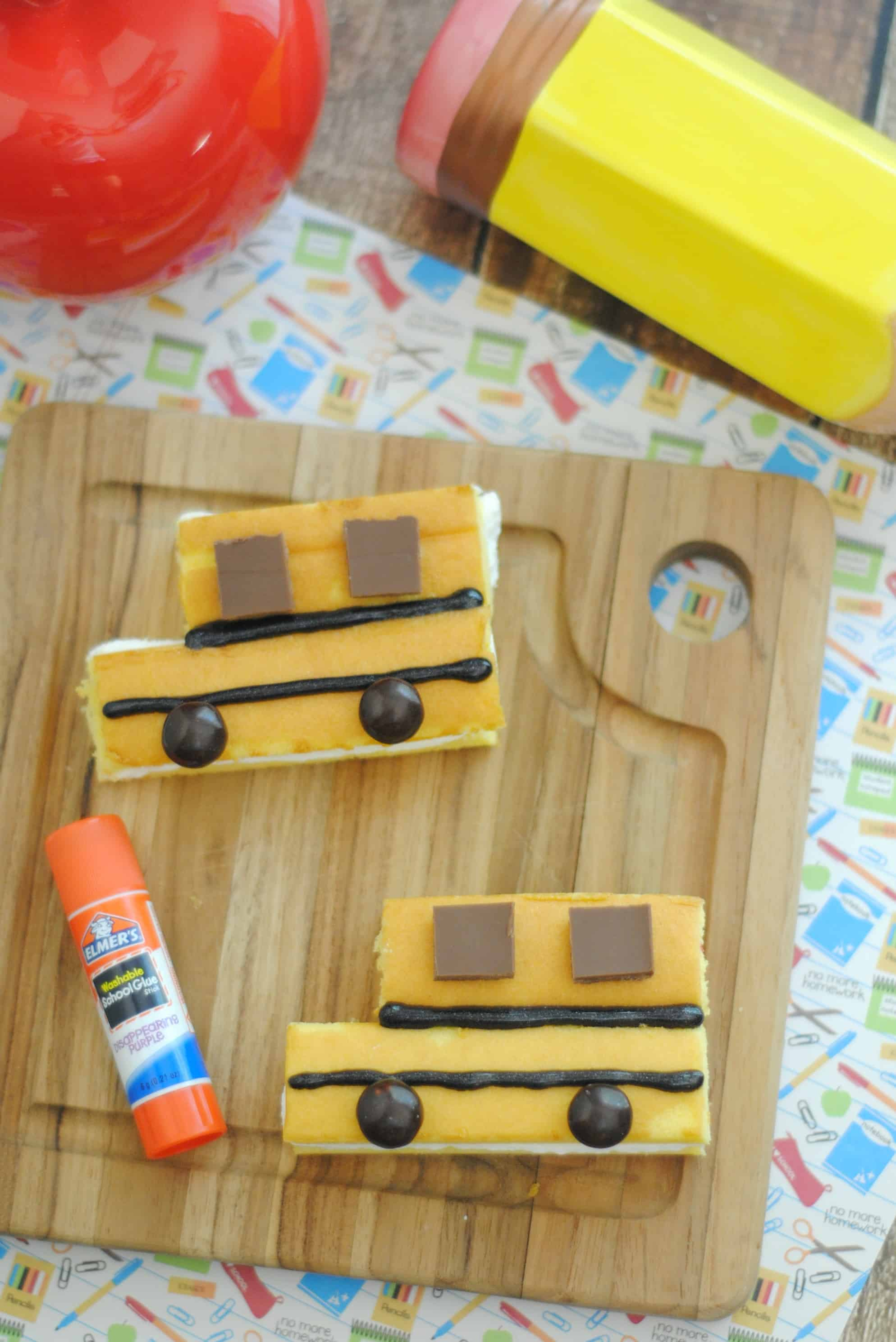 Back to school treat recipe shaped like school buses using little debbie snack cakes.