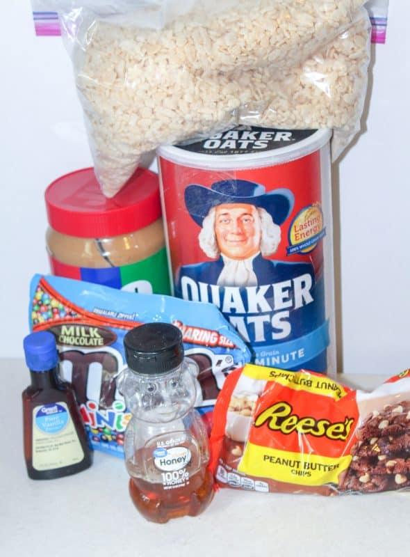 Ingredients for no bake granola bars.