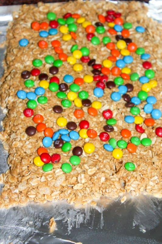 Easy granola bar recipe with M&M's.