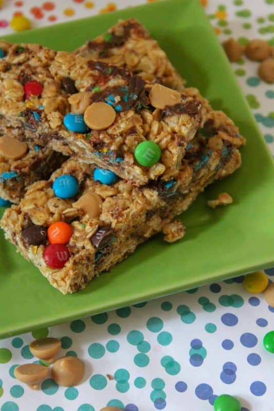 Homemade granola bar with M&M's & chocolate chips.