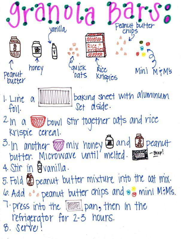 Printable simple granola bar recipe card for kids to make homemade granola bars by themselves or with very little adult help.
