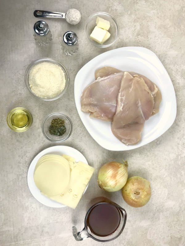 Ingredients needed for french onion chicken recipe.
