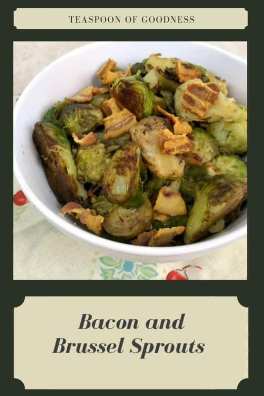 Bacon and brussel sprouts in a white bowl.