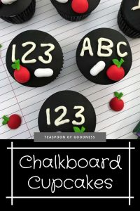 After school snack that is a decorated cupcake to look like a teachers chalkboard.