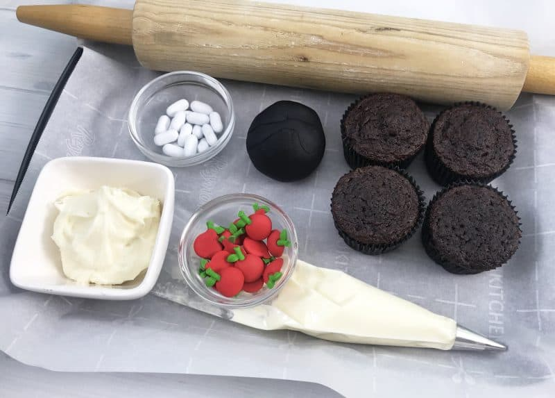 Ingredients needed to make a fun back to school cupcake recipe.