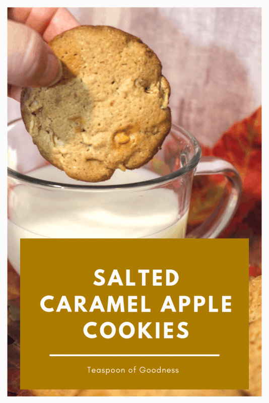 A salted caramel apple cookie being dipped in milk