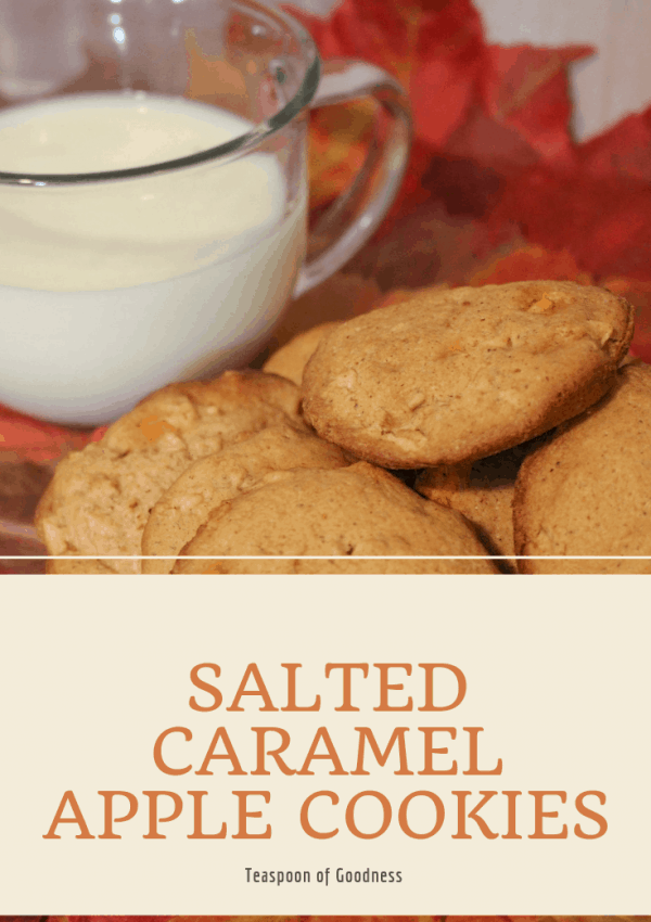 Salted caramel apple cookies on a plate with Milk in the background