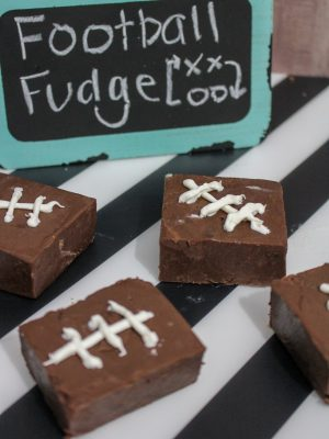 Homemade fudge recipe decorated like football treats