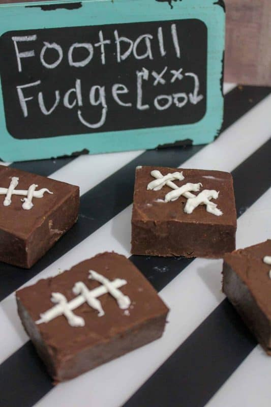 Homemade fudge recipe decorated like football treats