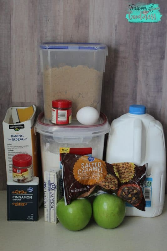 Ingredients being mixed for a salted caramel apple cookie recipe.