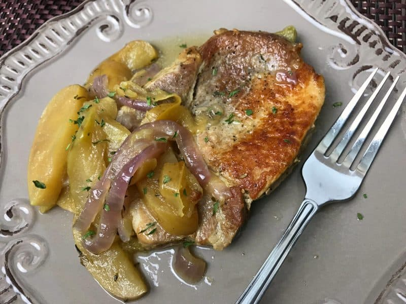 Pork chops, apples and onions cooked in an instant pot.