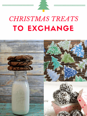 A collage with hot fudge cookies and milk, sugar cookies and truffles.