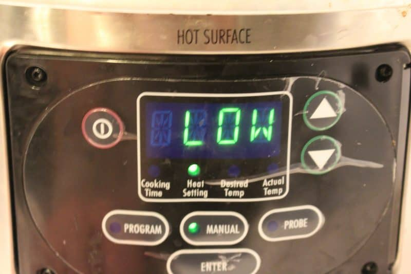 The word LOW displayed on a crockpot.