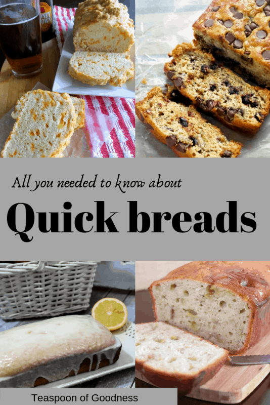 A graphic stating all you ever need to know about quick breads with a lemon bread, chocolate chip banana bread and a beer bread photo showing.
