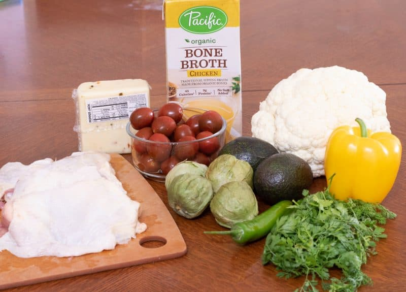 Ingredients needed for a keto southwest chicken bowl