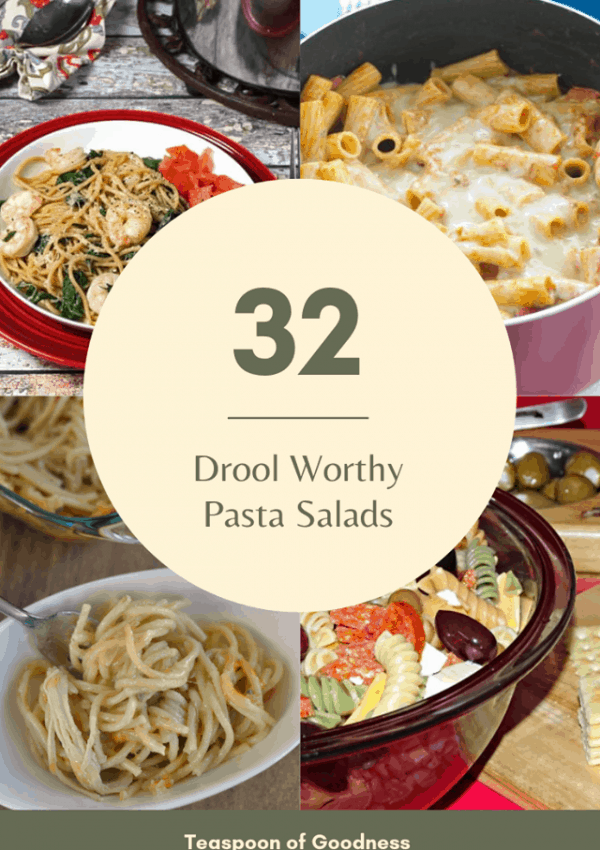 A photo collage with 4 different pasta salad recipes.