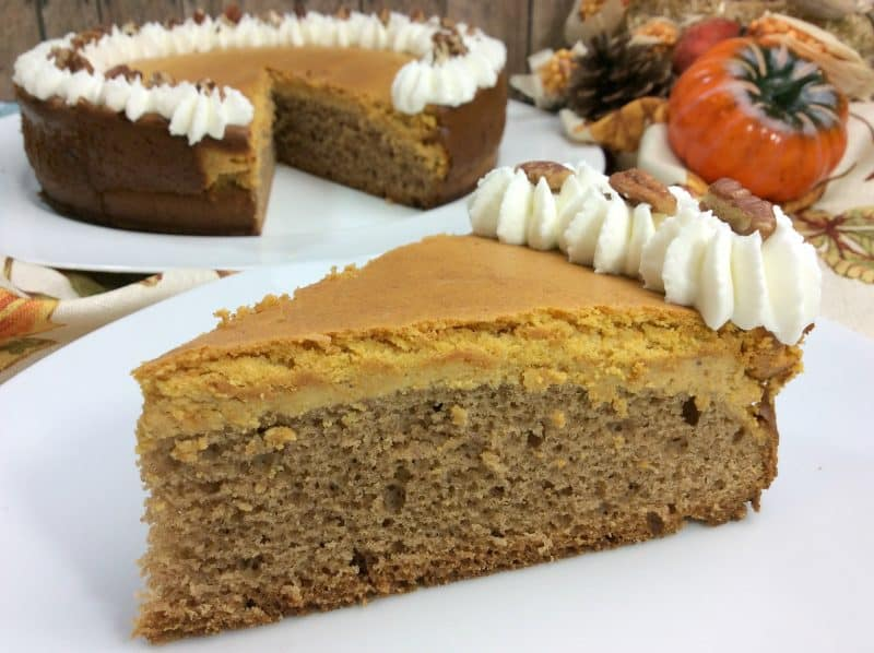 Spiced pumpkin cheesecake with whip cream on a white plate with a fall background setting.