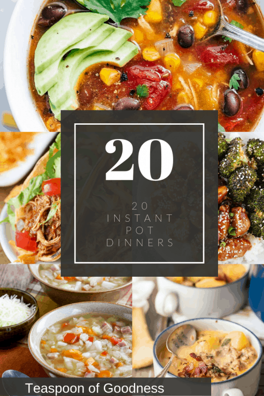 Collage with instant pot dinners.