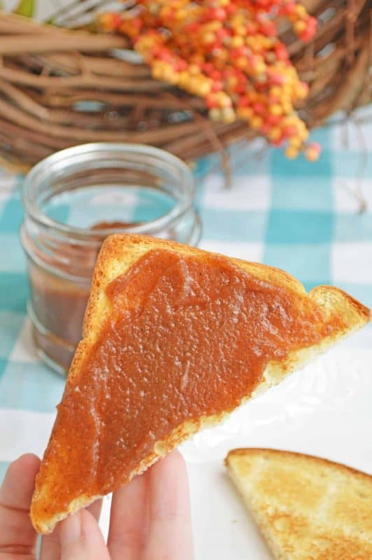Apple butter on a slice of toast.