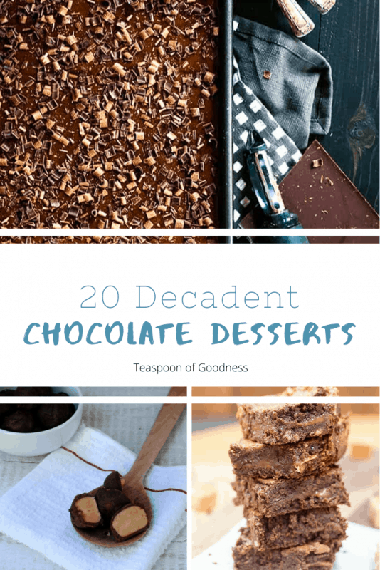 A collage photo depicting 20 chocolate desserts.